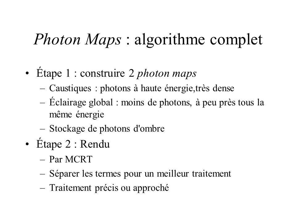 Photon Maps : algorithme complet Étape 1 : construire 2 photon maps –Caustiques : photons à haute énergie,très dense –Éclairage global : moins de photons, à peu près tous la même énergie –Stockage de photons d ombre Étape 2 : Rendu –Par MCRT –Séparer les termes pour un meilleur traitement –Traitement précis ou approché
