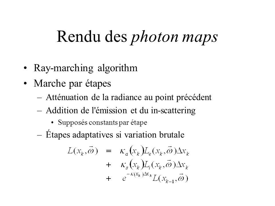 Rendu des photon maps Ray-marching algorithm Marche par étapes –Atténuation de la radiance au point précédent –Addition de l émission et du in-scattering Supposés constants par étape –Étapes adaptatives si variation brutale