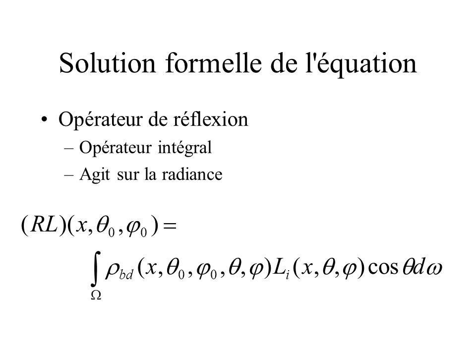 Solution formelle Donc : D où : Avec une série de Neumann : L L e RL L [I R] 1 L e L (R n )L e n 0