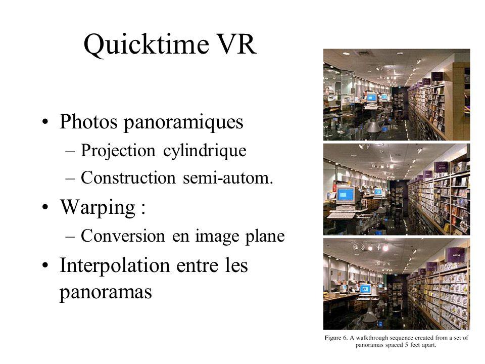 Quicktime VR Photos panoramiques –Projection cylindrique –Construction semi-autom. Warping : –Conversion en image plane Interpolation entre les panora