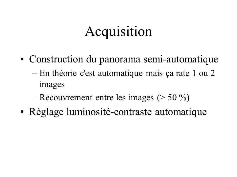 Construction du panorama semi-automatique –En théorie c est automatique mais ça rate 1 ou 2 images –Recouvrement entre les images (> 50 %) Règlage luminosité-contraste automatique