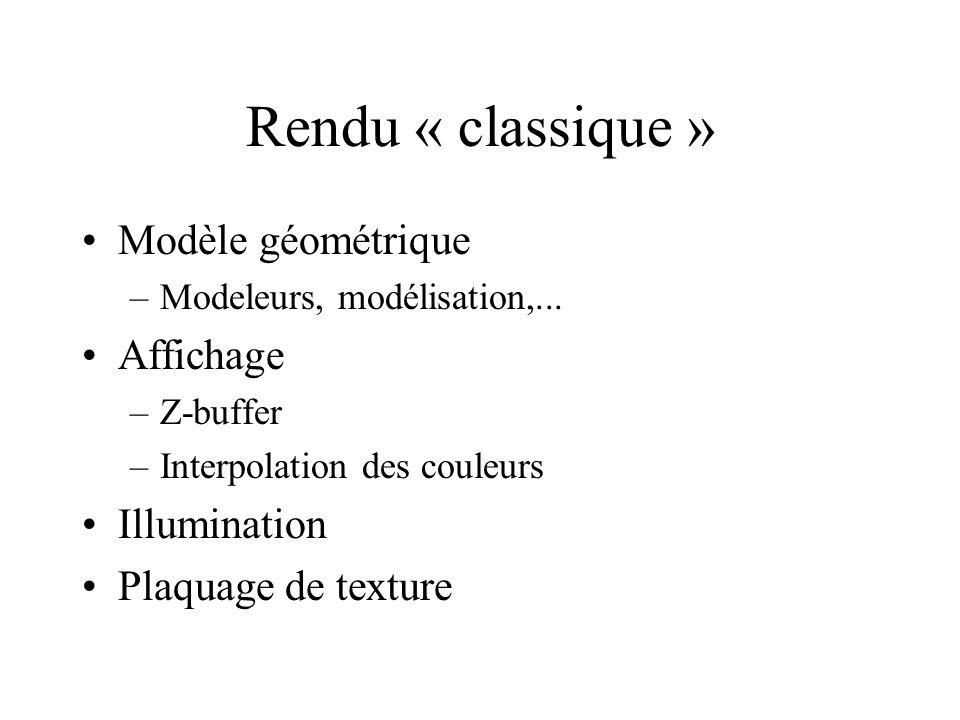 Rendu « classique » Modèle géométrique –Modeleurs, modélisation,... Affichage –Z-buffer –Interpolation des couleurs Illumination Plaquage de texture