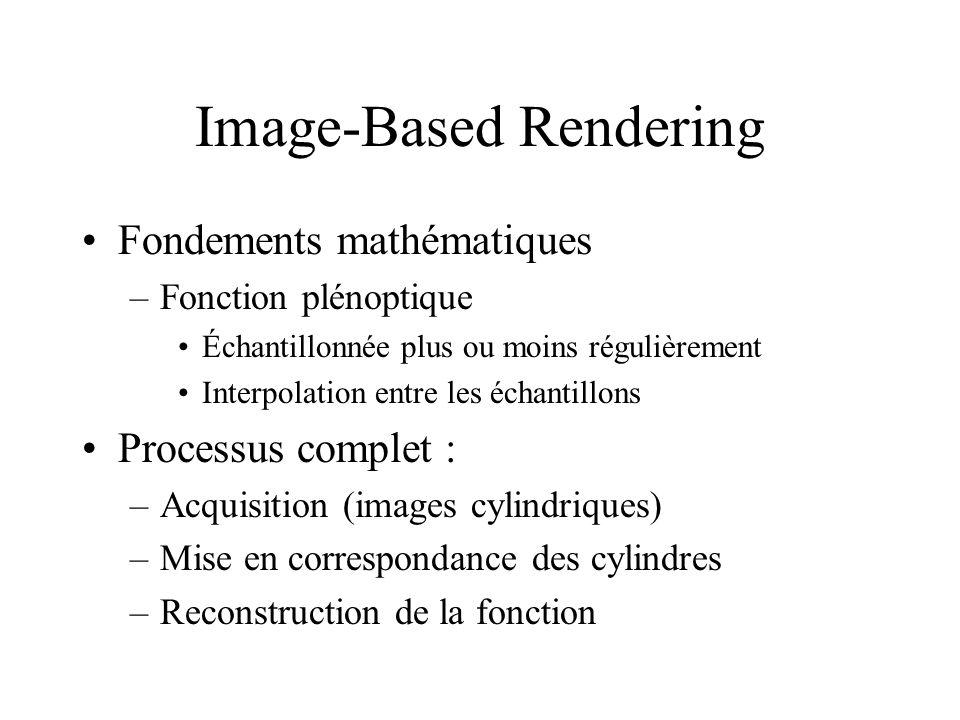 Image-Based Rendering Fondements mathématiques –Fonction plénoptique Échantillonnée plus ou moins régulièrement Interpolation entre les échantillons P