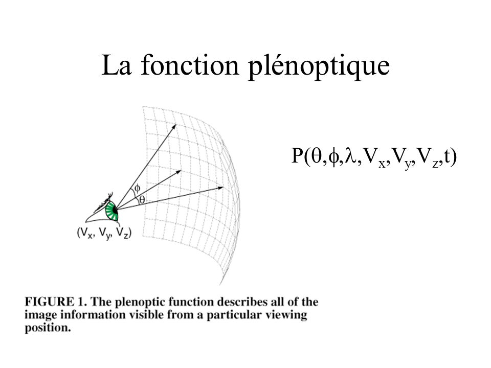 La fonction plénoptique P(,V x,V y,V z,t)