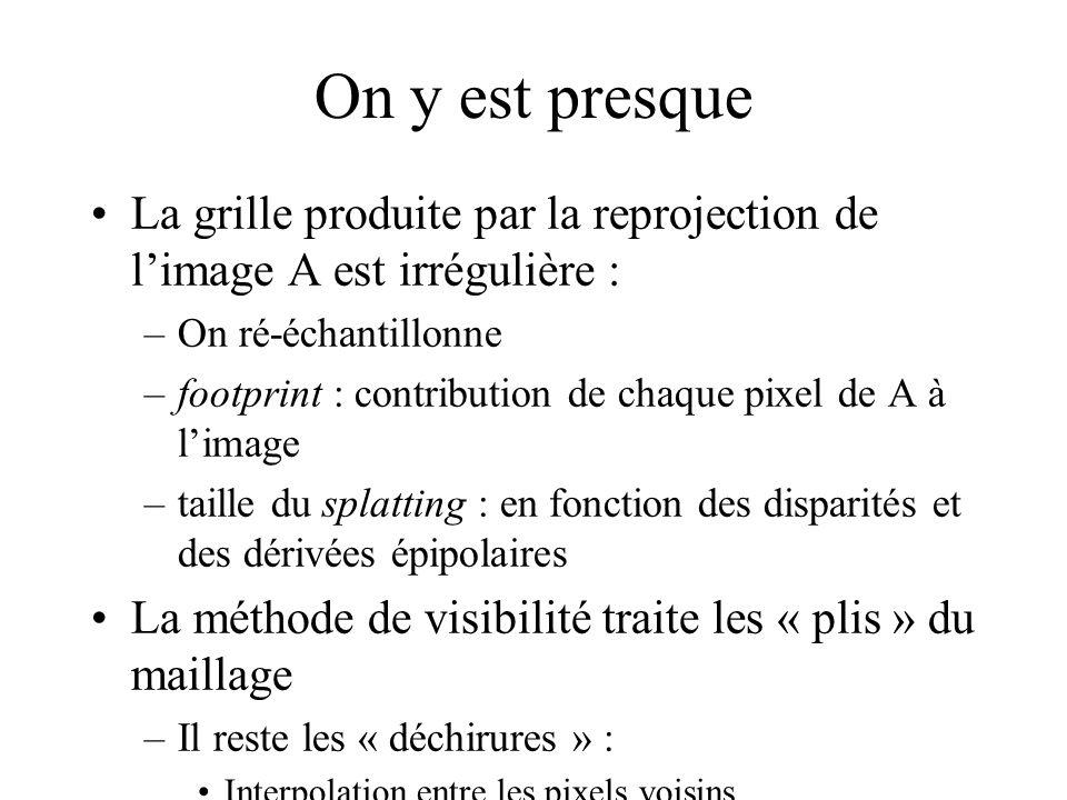 On y est presque La grille produite par la reprojection de limage A est irrégulière : –On ré-échantillonne –footprint : contribution de chaque pixel d