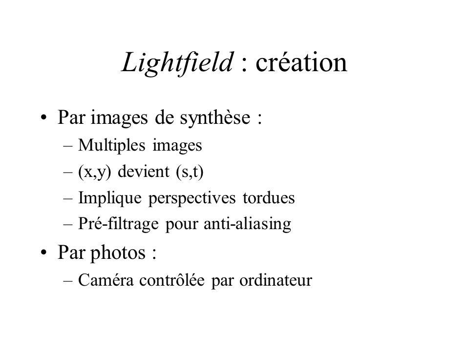 Lightfield : création Par images de synthèse : –Multiples images –(x,y) devient (s,t) –Implique perspectives tordues –Pré-filtrage pour anti-aliasing Par photos : –Caméra contrôlée par ordinateur
