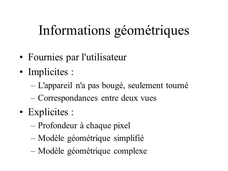 Informations géométriques Fournies par l utilisateur Implicites : –L appareil n a pas bougé, seulement tourné –Correspondances entre deux vues Explicites : –Profondeur à chaque pixel –Modèle géométrique simplifié –Modèle géométrique complexe
