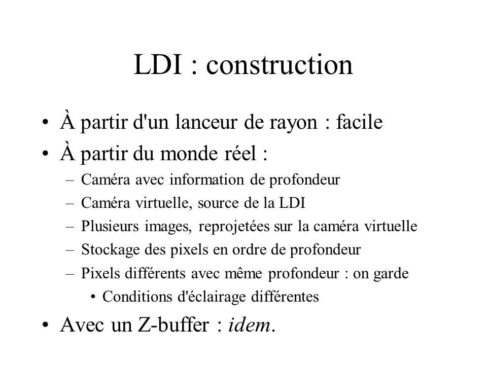 LDI : construction À partir d un lanceur de rayon : facile À partir du monde réel : –Caméra avec information de profondeur –Caméra virtuelle, source de la LDI –Plusieurs images, reprojetées sur la caméra virtuelle –Stockage des pixels en ordre de profondeur –Pixels différents avec même profondeur : on garde Conditions d éclairage différentes Avec un Z-buffer : idem.