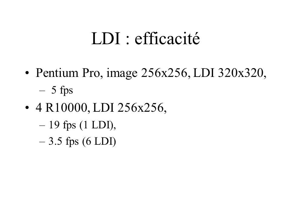 LDI : efficacité Pentium Pro, image 256x256, LDI 320x320, – 5 fps 4 R10000, LDI 256x256, –19 fps (1 LDI), –3.5 fps (6 LDI)