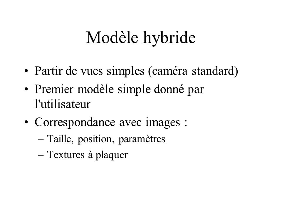 Modèle hybride Partir de vues simples (caméra standard) Premier modèle simple donné par l utilisateur Correspondance avec images : –Taille, position, paramètres –Textures à plaquer