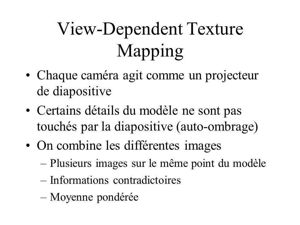 View-Dependent Texture Mapping Chaque caméra agit comme un projecteur de diapositive Certains détails du modèle ne sont pas touchés par la diapositive (auto-ombrage) On combine les différentes images –Plusieurs images sur le même point du modèle –Informations contradictoires –Moyenne pondérée