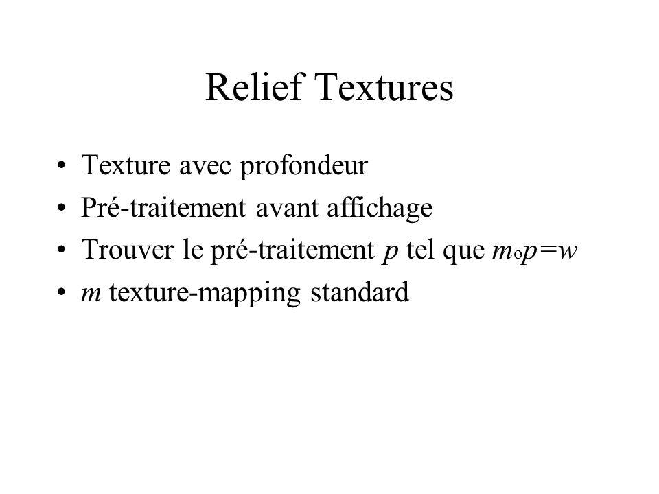 Texture avec profondeur Pré-traitement avant affichage Trouver le pré-traitement p tel que m o p=w m texture-mapping standard