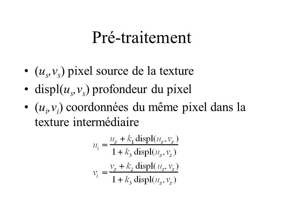 Pré-traitement (u s,v s ) pixel source de la texture displ(u s,v s ) profondeur du pixel (u i,v i ) coordonnées du même pixel dans la texture interméd