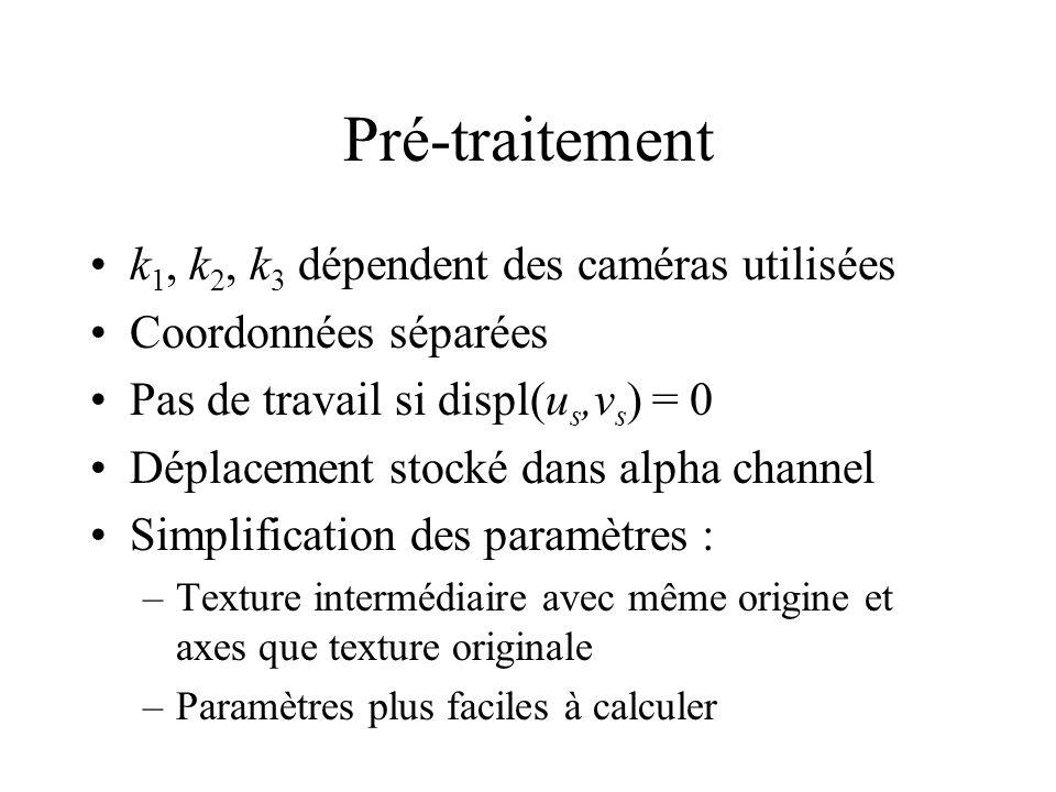 Pré-traitement k 1, k 2, k 3 dépendent des caméras utilisées Coordonnées séparées Pas de travail si displ(u s,v s ) = 0 Déplacement stocké dans alpha channel Simplification des paramètres : –Texture intermédiaire avec même origine et axes que texture originale –Paramètres plus faciles à calculer
