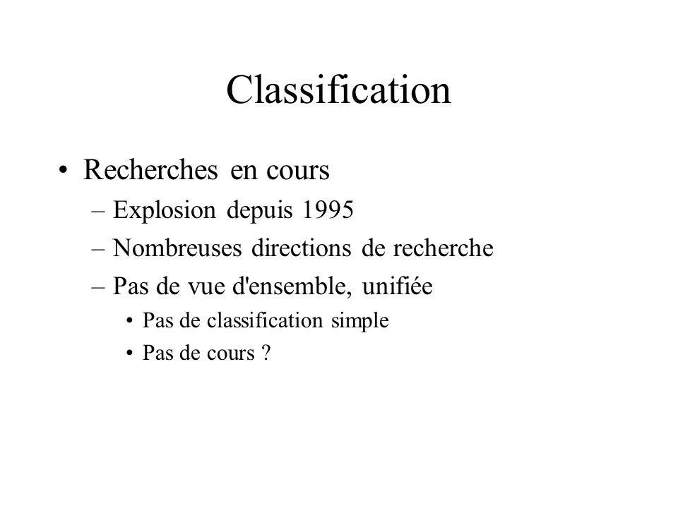Classification Recherches en cours –Explosion depuis 1995 –Nombreuses directions de recherche –Pas de vue d ensemble, unifiée Pas de classification simple Pas de cours ?