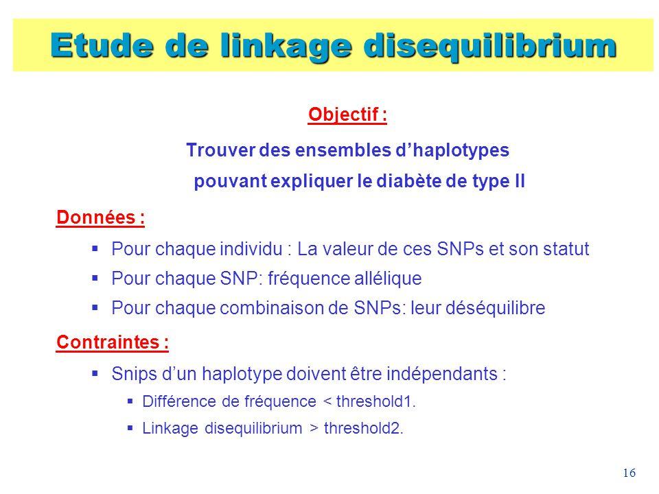 16 Objectif : Trouver des ensembles dhaplotypes pouvant expliquer le diabète de type II Données : Pour chaque individu : La valeur de ces SNPs et son