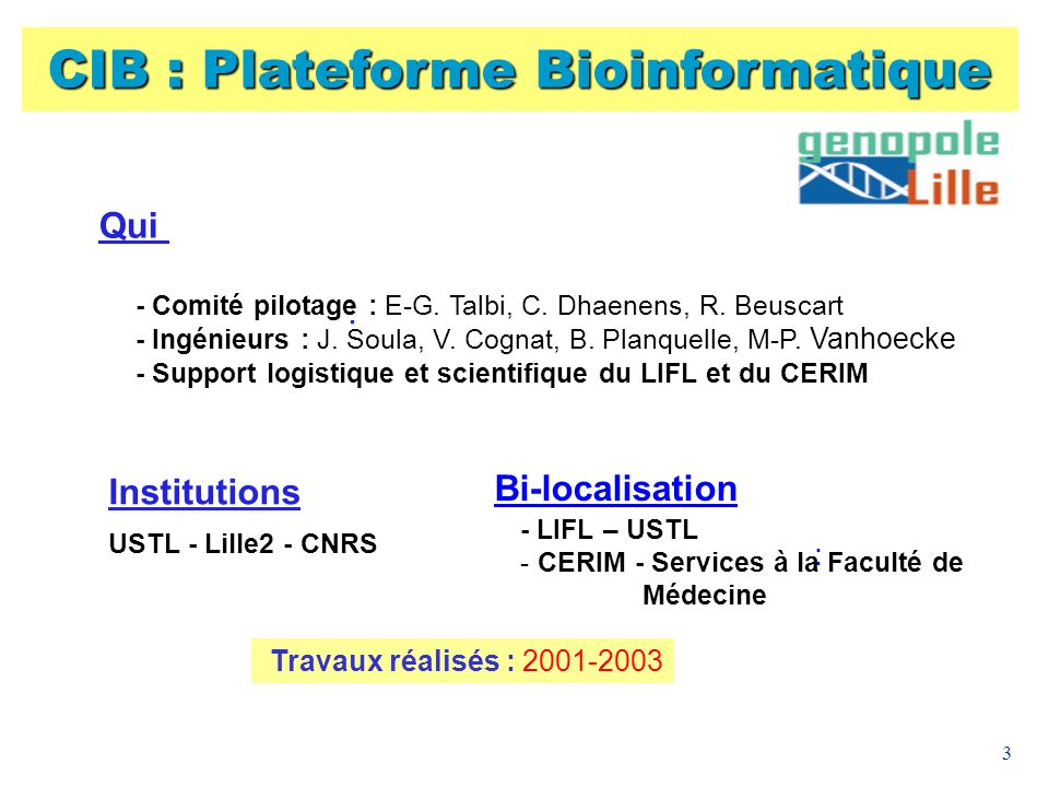 3 Qui : - Comité pilotage : E-G. Talbi, C. Dhaenens, R. Beuscart - Ingénieurs : J. Soula, V. Cognat, B. Planquelle, M-P. Vanhoecke - Support logistiqu