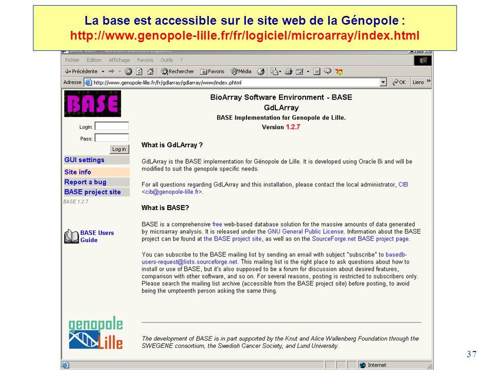 37 La base est accessible sur le site web de la Génopole : http://www.genopole-lille.fr/fr/logiciel/microarray/index.html