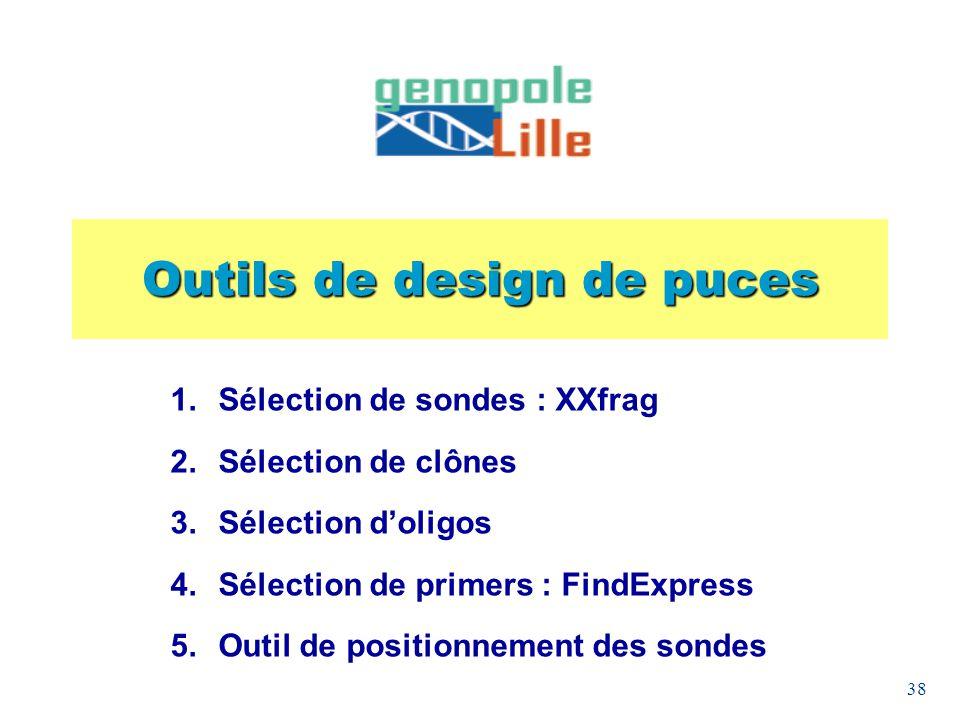 38 Outils de design de puces Sélection de sondes : XXfrag Sélection de clônes Sélection doligos Sélection de primers : FindExpress Outil de positionne