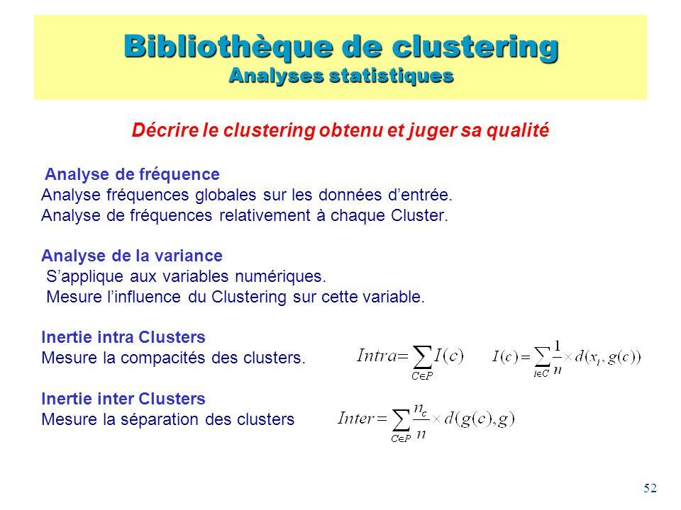 52 Décrire le clustering obtenu et juger sa qualité Analyse de fréquence Analyse fréquences globales sur les données dentrée. Analyse de fréquences re