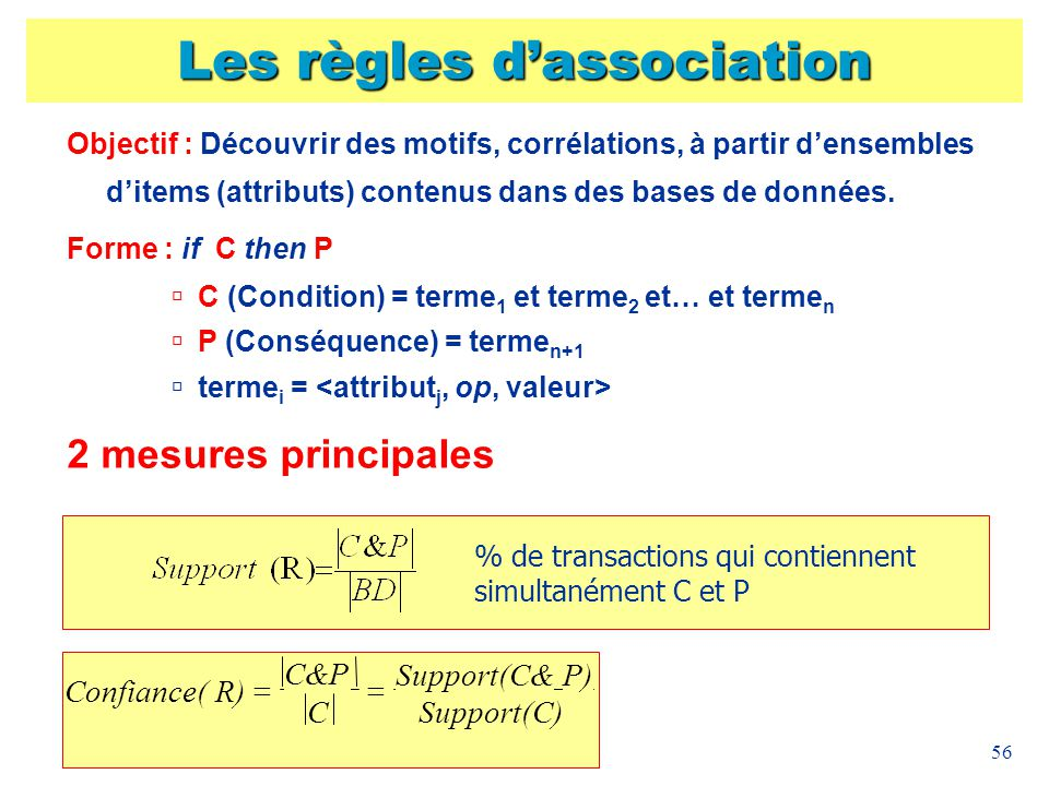 56 Les règles dassociation Objectif : Découvrir des motifs, corrélations, à partir densembles ditems (attributs) contenus dans des bases de données. F