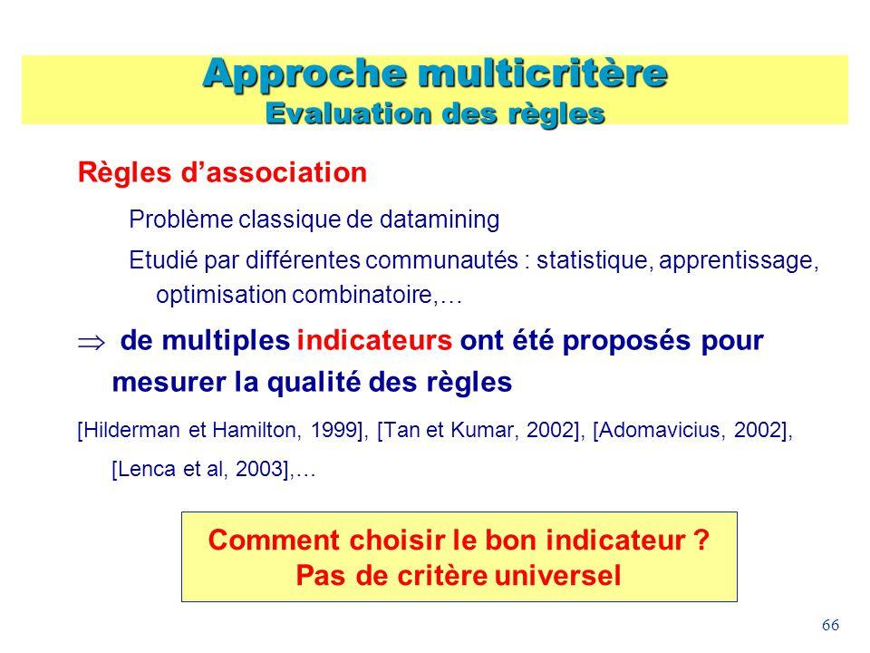 66 Approche multicritère Evaluation des règles Règles dassociation Problème classique de datamining Etudié par différentes communautés : statistique,
