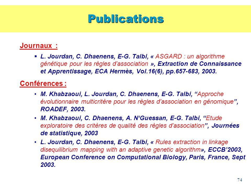 74 Journaux : L. Jourdan, C. Dhaenens, E-G. Talbi, « ASGARD : un algorithme génétique pour les règles dassociation », Extraction de Connaissance et Ap