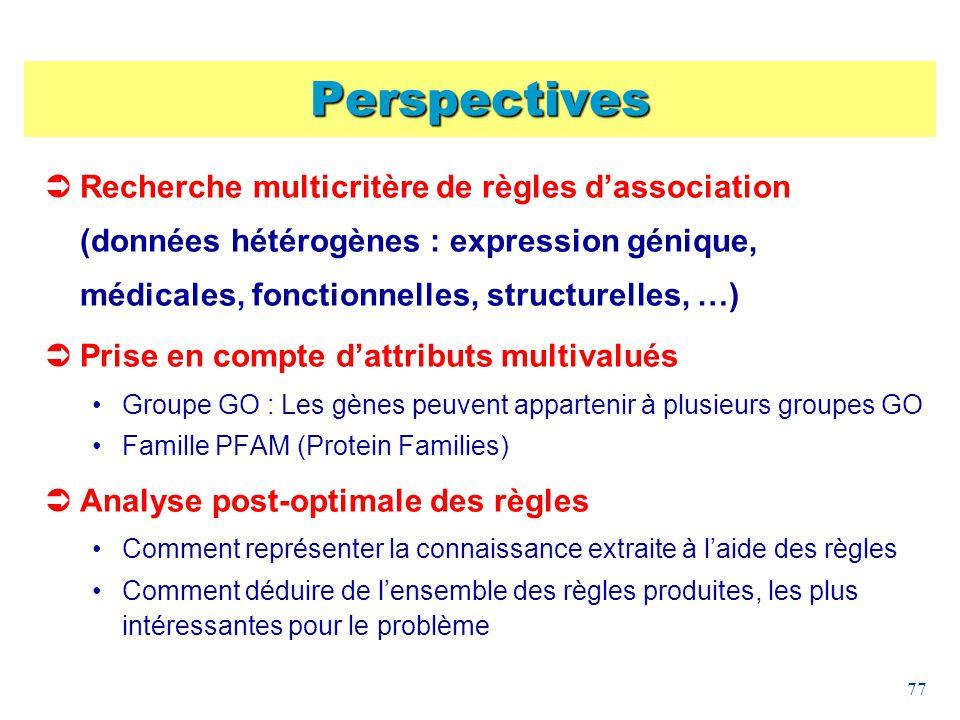 77 Perspectives Recherche multicritère de règles dassociation (données hétérogènes : expression génique, médicales, fonctionnelles, structurelles, …)