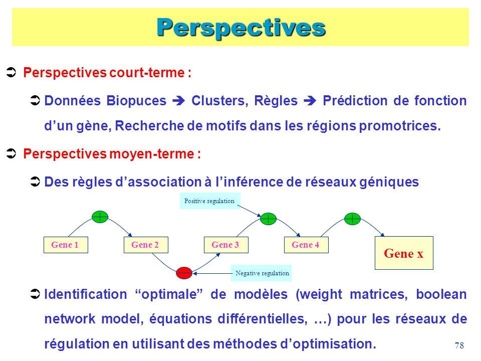 78 Perspectives Perspectives court-terme : Données Biopuces Clusters, Règles Prédiction de fonction dun gène, Recherche de motifs dans les régions pro