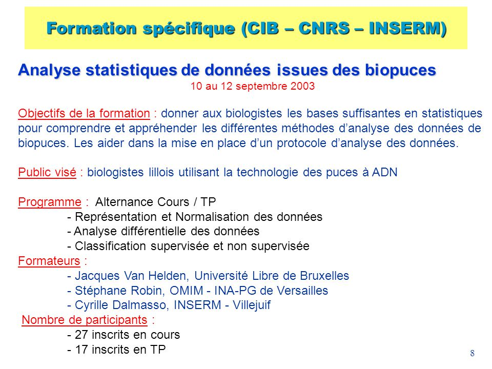 9 Mise à disposition doutils Base de données : Human Genome Data Base (online) : Santa Cruz (CA) Ensembl Gene Ontology Logiciels : 180 Open Source Software (online) : alignement, phylogeny, sequence analysis, … Site Web : Outil de communication et déchanges : forum de discussion, listes de diffusion, serveur ftp, newgroups,