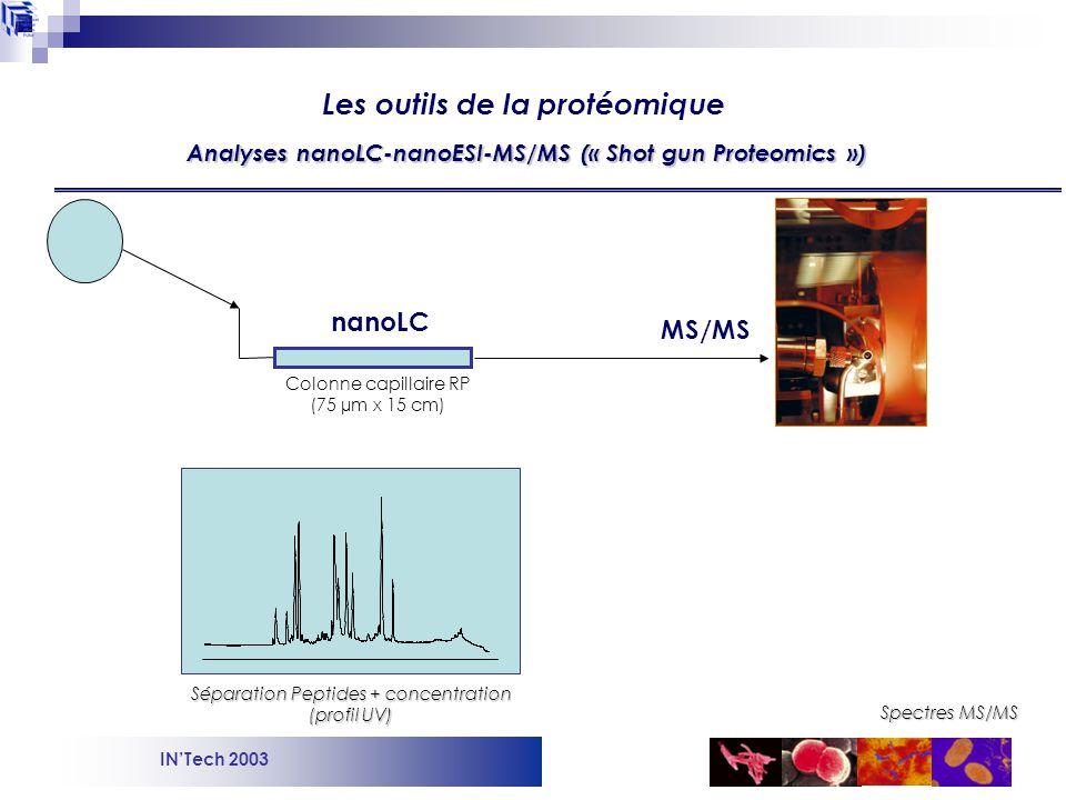 INTech 2003 Données expérimentales Masse du peptide trypsique (m) Spectre MS/MS + n spectres MS/MS théoriques MASCOT Interprétation des données (haut débit) Les outils de la protéomique Données théoriques Digestion trypsique in silico des banques protéiques Sélection des n protéines pour lesquelles on attend un peptide trypsique de masse m