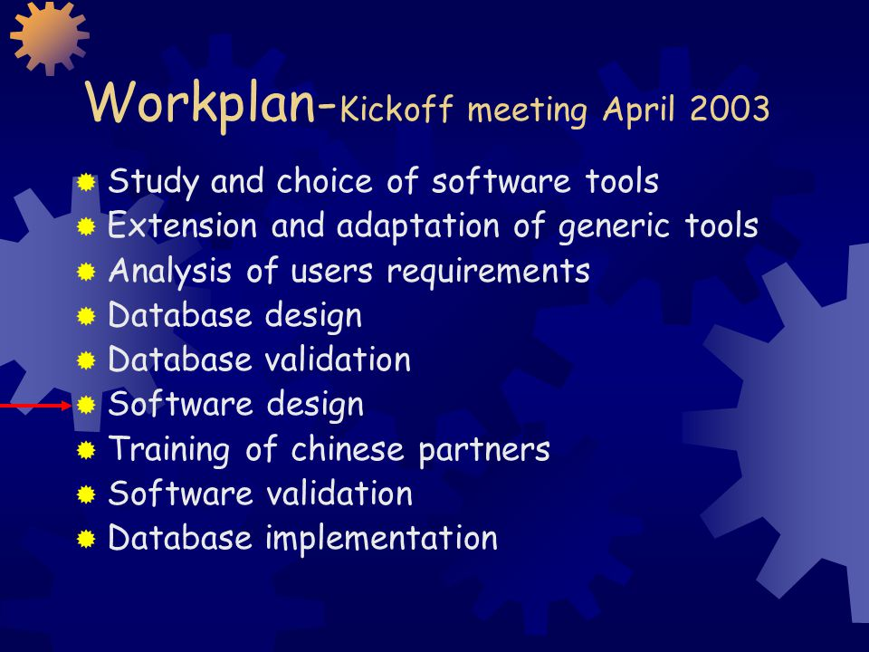 Workplan- Kickoff meeting April 2003 Study and choice of software tools Extension and adaptation of generic tools Analysis of users requirements Database design Database validation Software design Training of chinese partners Software validation Database implementation