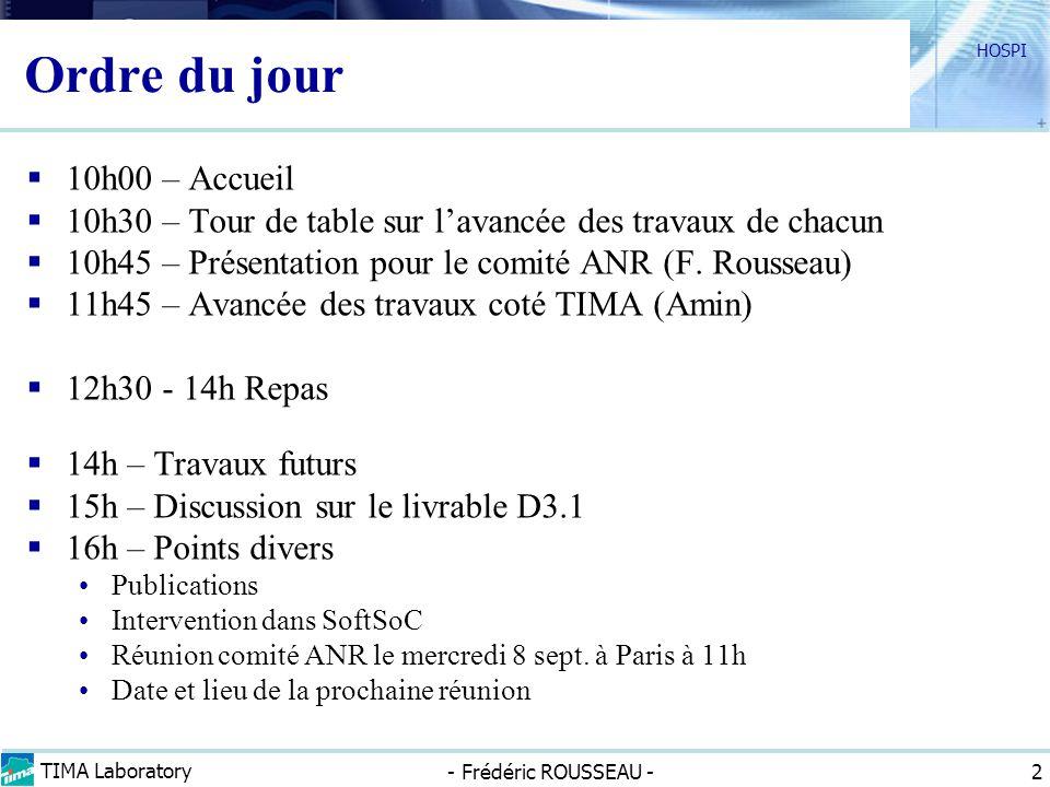 TIMA Laboratory - Frédéric ROUSSEAU - HOSPI 2 Ordre du jour 10h00 – Accueil 10h30 – Tour de table sur lavancée des travaux de chacun 10h45 – Présentat
