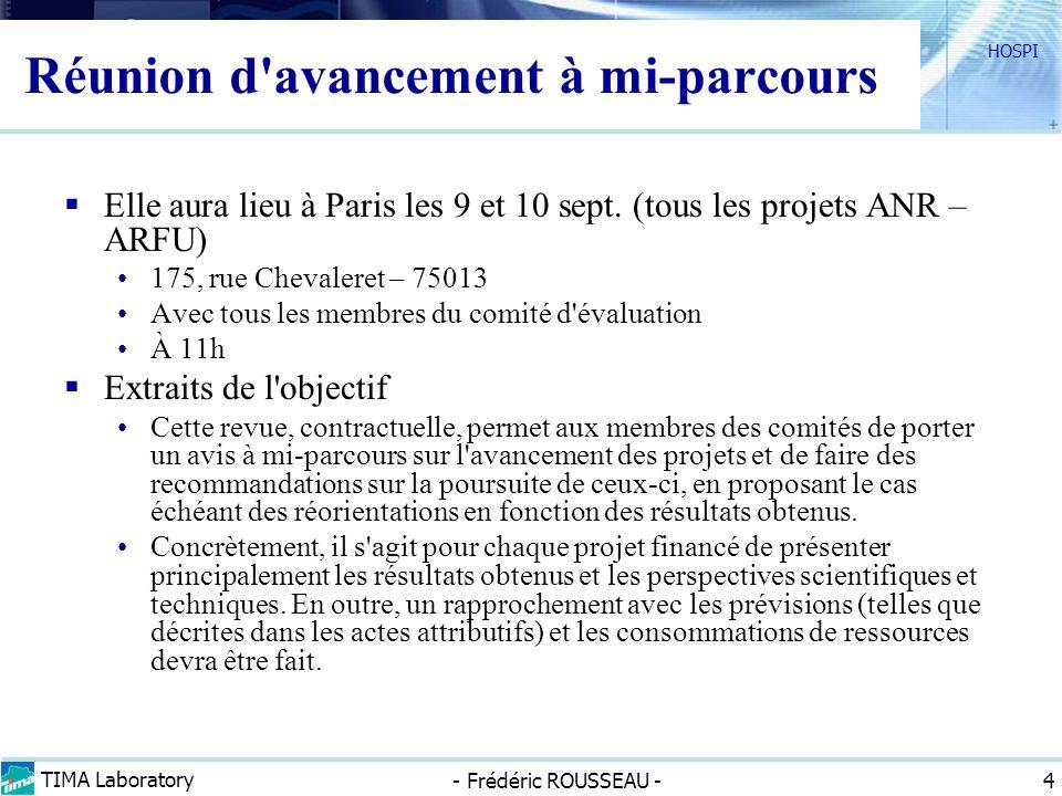 TIMA Laboratory - Frédéric ROUSSEAU - HOSPI 4 Réunion d'avancement à mi-parcours Elle aura lieu à Paris les 9 et 10 sept. (tous les projets ANR – ARFU