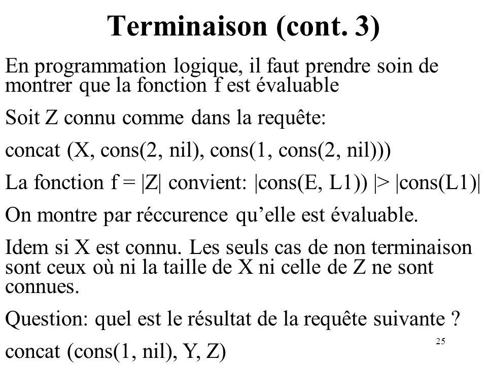 25 Terminaison (cont. 3) En programmation logique, il faut prendre soin de montrer que la fonction f est évaluable Soit Z connu comme dans la requête: