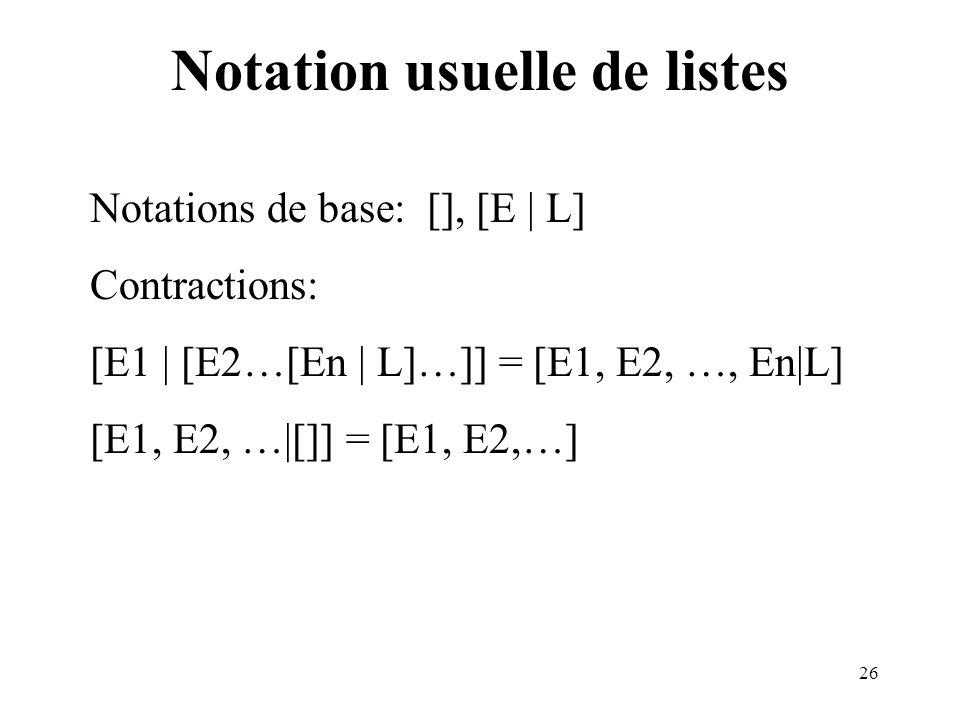 26 Notation usuelle de listes Notations de base: [], [E | L] Contractions: [E1 | [E2…[En | L]…]] = [E1, E2, …, En|L] [E1, E2, …|[]] = [E1, E2,…]