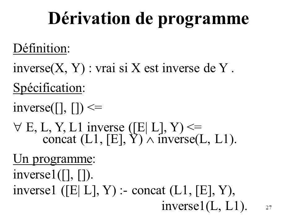 27 Dérivation de programme Définition: inverse(X, Y) : vrai si X est inverse de Y. Spécification: inverse([], []) <= E, L, Y, L1 inverse ([E| L], Y) <