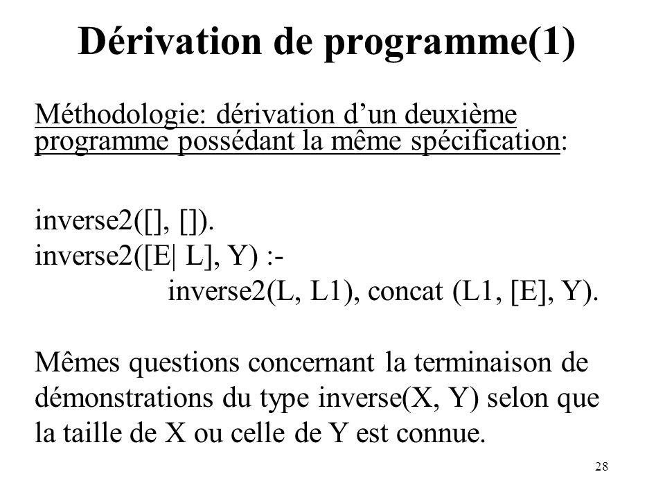 28 Dérivation de programme(1) Méthodologie: dérivation dun deuxième programme possédant la même spécification: inverse2([], []). inverse2([E| L], Y) :