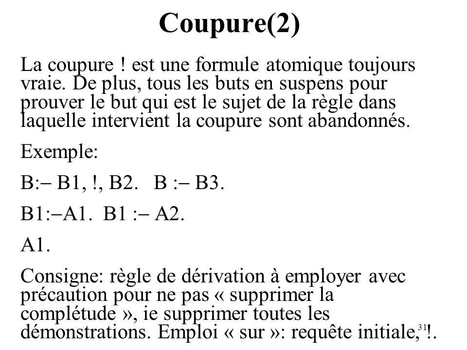 31 Coupure(2) La coupure ! est une formule atomique toujours vraie. De plus, tous les buts en suspens pour prouver le but qui est le sujet de la règle