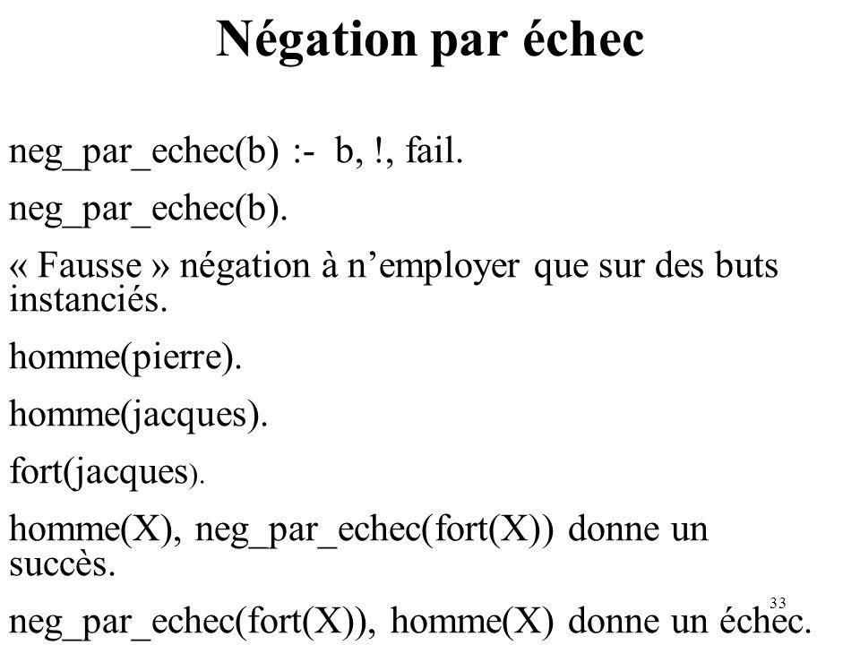 33 Négation par échec neg_par_echec(b) :- b, !, fail. neg_par_echec(b). « Fausse » négation à nemployer que sur des buts instanciés. homme(pierre). ho