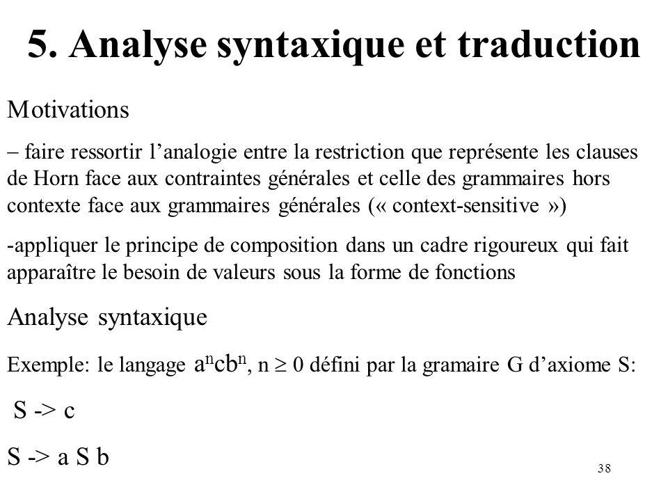 38 5. Analyse syntaxique et traduction otivations faire ressortir lanalogie entre la restriction que représente les clauses de Horn face aux contraint