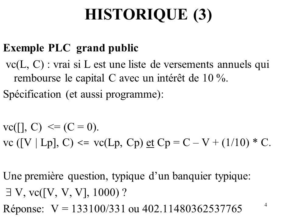 4 HISTORIQUE (3) Exemple PLC grand public vc(L, C) : vrai si L est une liste de versements annuels qui rembourse le capital C avec un intérêt de 10 %.