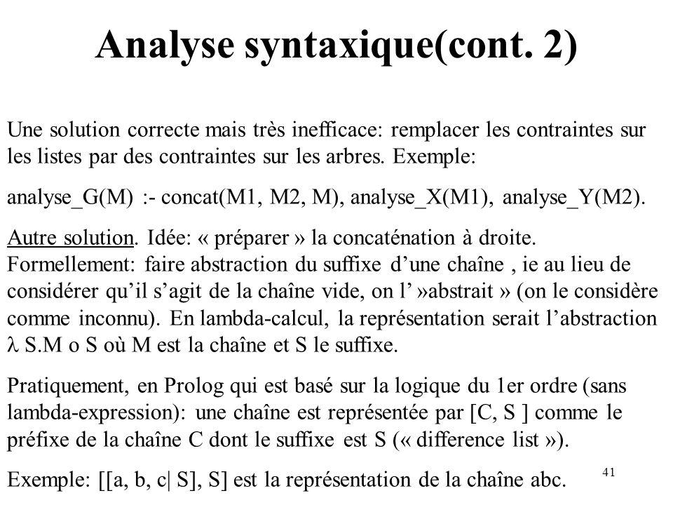 41 Analyse syntaxique(cont. 2) Une solution correcte mais très inefficace: remplacer les contraintes sur les listes par des contraintes sur les arbres