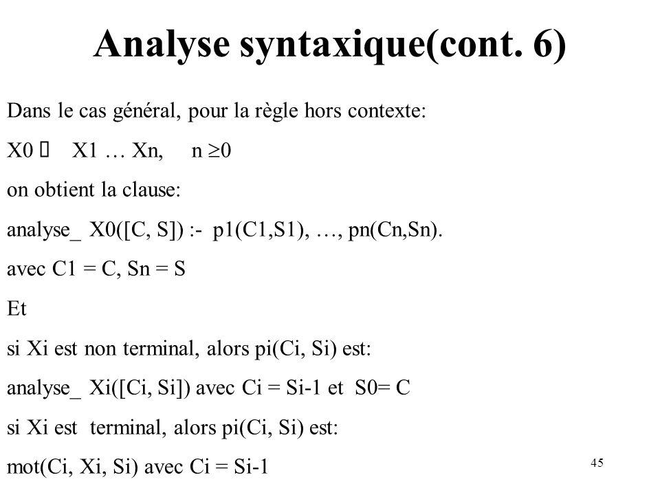 45 Analyse syntaxique(cont. 6) Dans le cas général, pour la règle hors contexte: X0 X1 … Xn, n 0 on obtient la clause: analyse_ X0([C, S]) :- p1(C1,S1