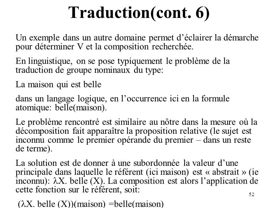 52 Traduction(cont. 6) Un exemple dans un autre domaine permet déclairer la démarche pour déterminer V et la composition recherchée. En linguistique,