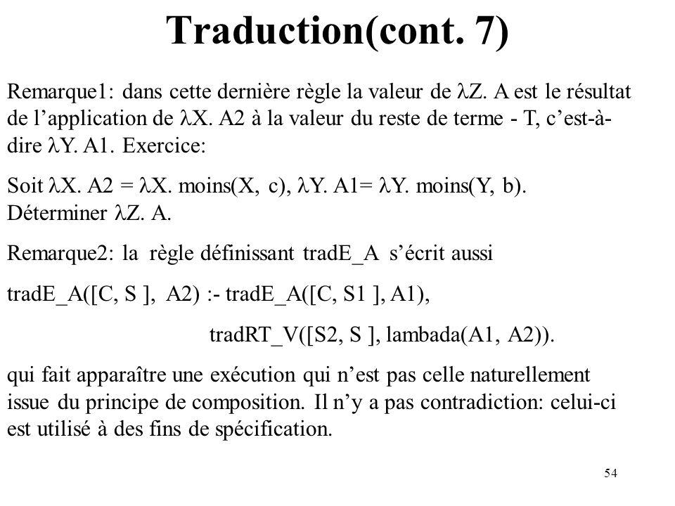54 Traduction(cont. 7) Remarque1: dans cette dernière règle la valeur de Z. A est le résultat de lapplication de X. A2 à la valeur du reste de terme -