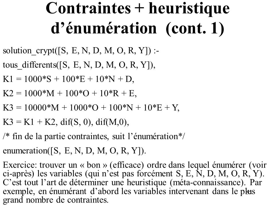 57 Contraintes + heuristique dénumération (cont. 1) solution_crypt([S, E, N, D, M, O, R, Y]) :- tous_differents([S, E, N, D, M, O, R, Y]), K1 = 1000*S