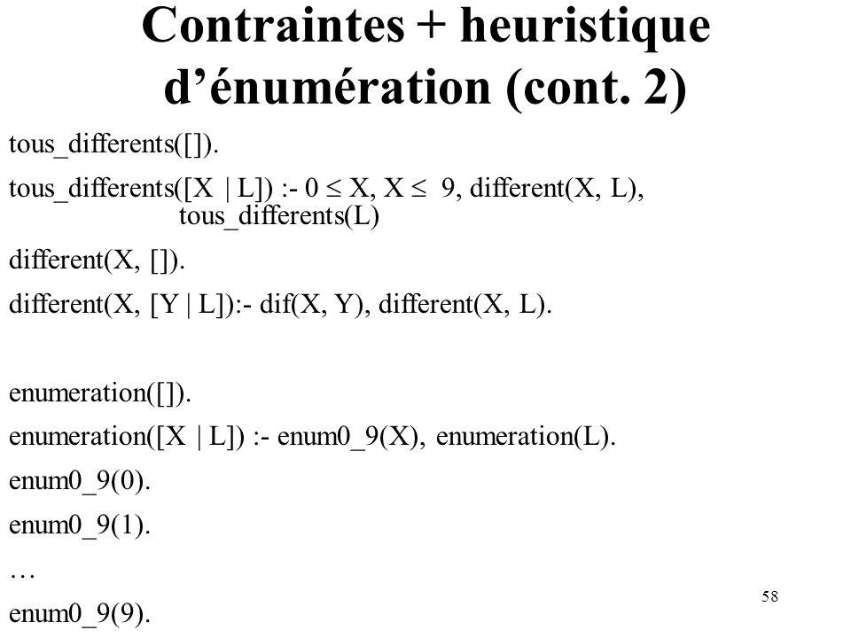 58 Contraintes + heuristique dénumération (cont. 2) tous_differents([]). tous_differents([X | L]) :- 0 X, X 9, different(X, L), tous_differents(L) dif