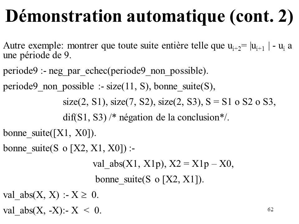 62 Démonstration automatique (cont. 2) Autre exemple: montrer que toute suite entière telle que u i+2 = |u i+1 | - u i a une période de 9. periode9 :-
