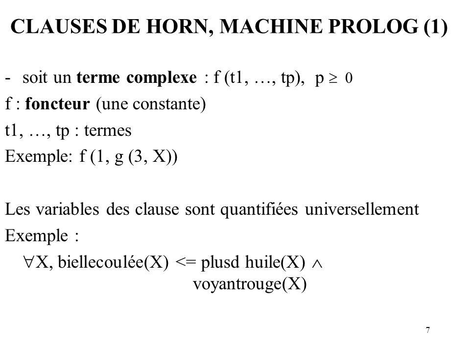 7 CLAUSES DE HORN, MACHINE PROLOG (1) -soit un terme complexe : f (t1, …, tp), p 0 f : foncteur (une constante) t1, …, tp : termes Exemple: f (1, g (3, X)) Les variables des clause sont quantifiées universellement Exemple : X, biellecoulée(X) <= plusd huile(X) voyantrouge(X)
